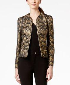 Anne Klein Metallic Jacquard-Print Jacket