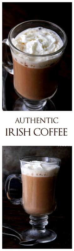 A delicious and warm Authentic Irish Coffee made with whiskey, coffee, and heavy cream. Use Bailey's for cream also -Tammi ; Cocktails, Alcoholic Drinks, Beverages, Yummy Drinks, Yummy Food, Irish Coffee, Irish Whiskey, Liqueur, Irish Recipes