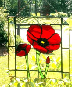 Stained Glass Poppy Flower Suncatcher by Cheriberiglass on Etsy, $60.00