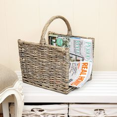 Check out this wicker magazine baskes with open ends. Complete with handle and made from natural, durable wicker and finished in a French grey tone. Suitable to use as a log basket and display next to the open fire or just as useful as a decorative magazine and newspaper store. Get yours at www.dibor.co.uk