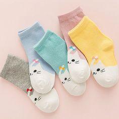 Korean Fashion Cute Cartoon Children's Socks Cotton Baby Kids Girl Boy Short Sock 1-10 Year Character School Socks 5 Pair/Lot