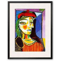 Art.com Girl with Red Beret Framed Art Print by Pablo Picasso (£165) ❤ liked on Polyvore featuring home, home decor, wall art, multicolor, colorful home decor, wood home decor, wooden home decor, red home accessories and vertical wall art