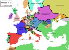 Europe after the Peace of Westphalia in 1648 marking the end of The Thirty Years' War