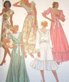Uncut Vtg 1980s Dress Pattern Ruffled Skirt McCalls 7615 Misses Jr Petite Size 8 #McCall #RuffledDressFlaredSkirtCapSleevesSheerYoke