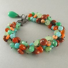 Mixed Gemstone Wire Wrapped Bracelet  Chrysoprase by SurfAndSand