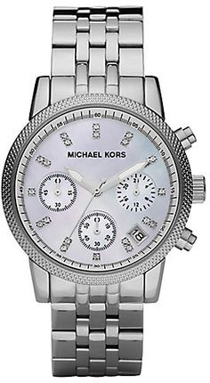 """Michael Kors Crystal & Stainless Steel Chronograph Watch, A feminine yet sporty, technical timepiece with sparkling, crystal markers.;Quartz movement;Water resistant to 10 ATM;Round stainless steel case, 36.5mm (1.5"""");Textured bezel;Mother-of-pearl chronograph dial;Crystal hour markers;Date display between 4 and 5 o'clock;Second hand ;Stainless steel link bracelet, 20mm wide (0.78"""");Imported"""