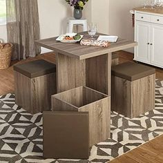 Shop for Simple Living 5 piece Baxter Dining Set with Storage Ottomans. Get free delivery On EVERYTHING* Overstock - Your Online Furniture Shop! Kitchen Table Chairs, Small Kitchen Tables, Small Dining, Dining Room Table, Kitchen Furniture, Table And Chairs, Living Room Furniture, Dining Sets, Dining Rooms