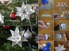 DIY Simple Modular Star Ornament ... Simple Modular Star Ornament ... photo tutorial ... great look for Christmas but also would be a great package topper ... in other colors ...