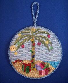 Christmas on the beach, needlepoint ornament