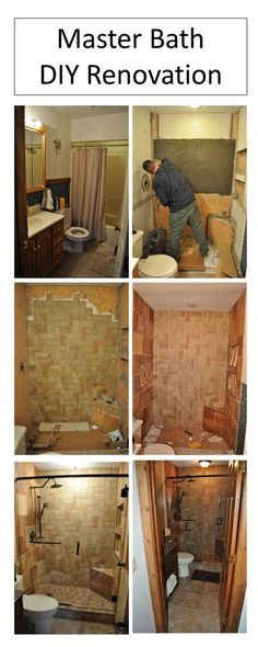 DIY Small Master Bath Remodel: Master bath with complete tile shower, herringbone pattern on back shower wall. Glass shower doors. 6 different shades of tile. All work was done by DIY homeowner with exception of the frameless glass shower door.