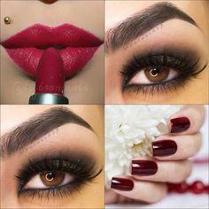 Bold berry Lips with smoky eyes #makeup #beauty #eyemakeup - bellashoot.com