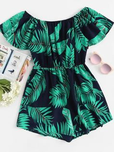 Shein Tropical Print Off Shoulder Romper - Shop Off Shoulder Leaf Print Jumpsuit online. SheIn offers Off Shoulder Leaf Print Jumpsuit & more to fit your fashionable needs. Source by - Girls Fashion Clothes, Teen Fashion Outfits, Outfits For Teens, Look Fashion, Girl Outfits, Clothes For Women, Fashion Fall, Fashion Women, Cute Summer Outfits