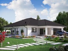 Modern Bungalow Exterior, Modern Bungalow House, Modern House Facades, Tiny House Exterior, Bungalow House Plans, Dream House Plans, Modern House Plans, Cool House Designs, Modern House Design