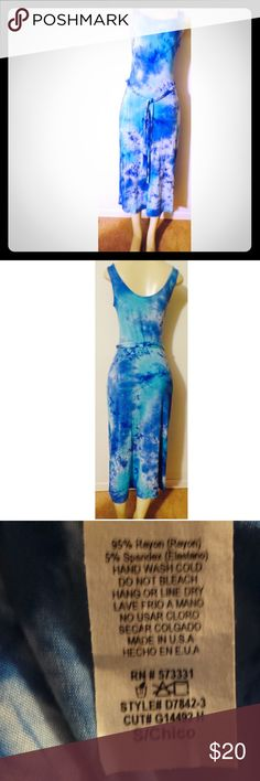 Women's Blue Tie Dye Maxi Dress NWOT Women's tie dye maxi dress ranging in various shades of blues. Dress ties in the front. Size small. NWOT Dresses Maxi