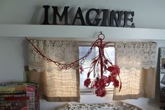 Vintage Camper Trailer-cute burlap curtains with lace