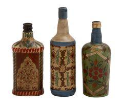 3 Piece Glass Painted Decorative Bottle Set