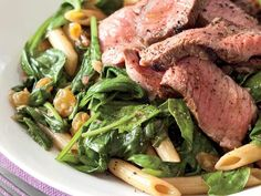 Wilted Spinach Salad with Steak and Pasta