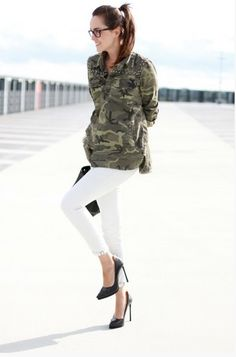 @roressclothes clothing ideas #women fashion Military trend inspiration for spring 2014- camo shirt and white jeans