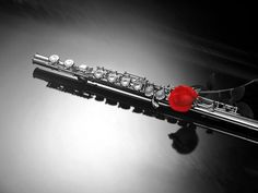 Flute Poster Red Rose Music insturmental Wall Art Home DecorPERSONALIZABLE FREE