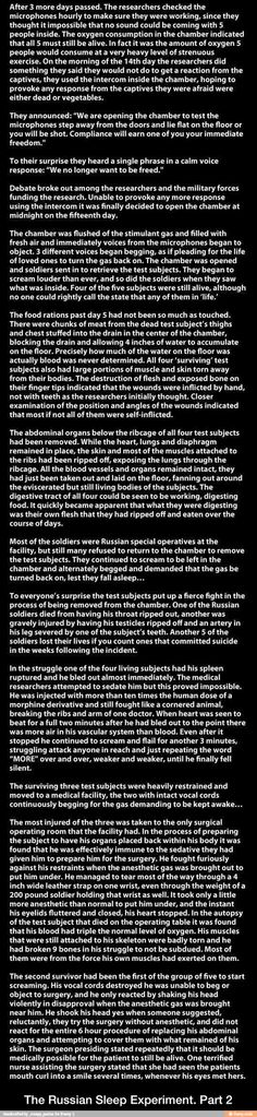 The Russian Sleep Experiment. Part 2