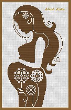 0 point de croix femme enceinte fleurs ds son ventre - cross stitch pregnant girl with flowers in her belly