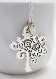 Silver Family Tree Initial Necklace by SimplySpainDesigns on Etsy
