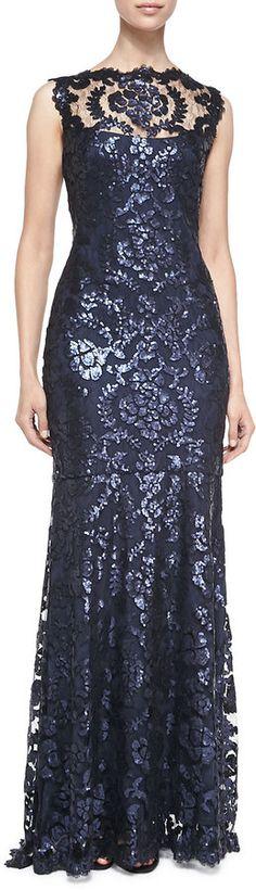 Tadashi Shoji Sleeveless Sequined Lace-Overlay Gown Tadashi Shoji sequined lace-overlay gown. Scalloped bateau illusion neckline. Sleeveless. Mermaid silhouette. Back zip.