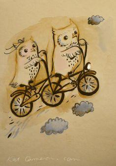 Bicycle owls - Kat Cameron