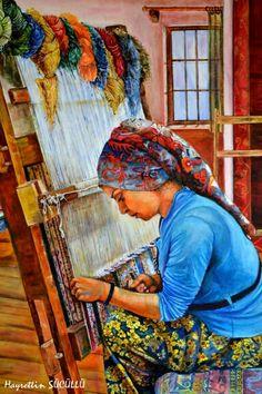 Hayrettin Sücüllü Tuval üzerine yağlı boya 70x50 Halı dokuyan kız