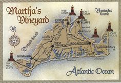 MODERN POSTCARD - Map of MARTHA'S VINEYARD
