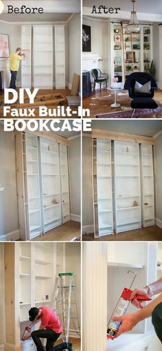Check out the tutorial: #DIY Faux Built-in Bookcase #crafts #decor