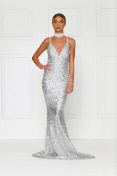 Yassmine Mermaid Gown - Silver