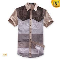 Mens Fashion Designer Matching Short Sleeve Shirts CW100309 Tan $108.67 - www.cwmalls.com