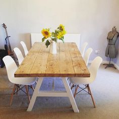 Reclaimed Industrial Chic A-Frame 6-8 Seater Solid Wood & Metal Dining Table in White.Cafe Restaurant Furniture Steel Made to Measure 120 by RccFurniture on Etsy https://www.etsy.com/uk/listing/472618873/reclaimed-industrial-chic-a-frame-6-8