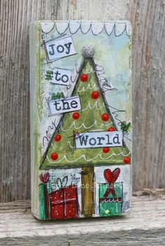 Original Christmas Tree Magnet - Mixed Media Original Art - Hand Painted on Small Wood Block - Joy to the World, Holiday Home Goods