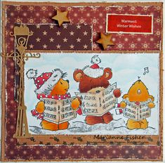 LOTV - Carol Singing Rubber and Digi stamps with Vintage Christmas papers by Marianne Stamped Christmas Cards, Christmas Paper, Vintage Christmas, Christmas Comics, Christmas Animals, Card Making Inspiration, Digi Stamps, Lily Of The Valley, Stamping