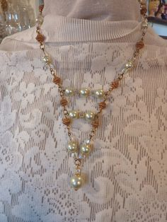 17 Soft Green Beads and Gold Beaded Necklace with by CEOriginals