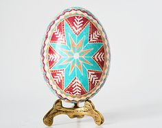 Fansy blue pysanka egg hand painted buy by UkrainianEasterEggs. Yes, it costs USD 38.00, but think of all of that work! My goodness! Such patience and artistry!