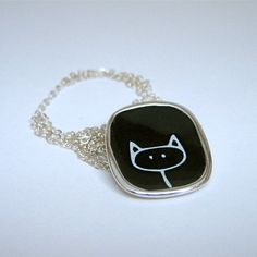 Cat of the Day:  Love is rarely so simple  <3  Stick Kitty Enamel and Sterling SIlver Necklace by marmar on Etsy, $45.00