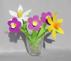 Flower bouquet for mom. How to make easy paper flowers.