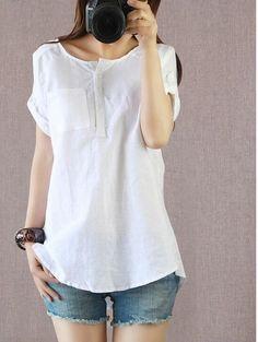 JOYINPARTY Women Blouses 2017 Summer Short Sleeve Cotton Linen Tops Summer  Shirts XXL 4XL Plus Size 8bb761caaaf18