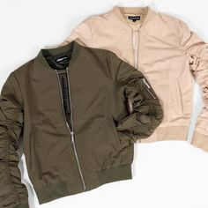 Womens MA1 Bombers in Khaki and Beige
