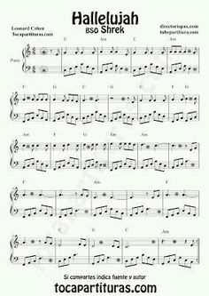 Hallelujah by Leonard Cohen Sheet Music for Piano Shrek OST Piano Music Scores Sheet Music With Letters, Easy Piano Sheet Music, Violin Sheet Music, Sheet Music Notes, Digital Sheet Music, Piano Music, Leonard Cohen, Piano Score, Music Score