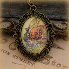 'Art Glass Shimmery Peacock Necklace' is going up for auction at 10am Sat, Aug 11 with a starting bid of $8.