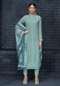 Buy Shaded Green Faux Georgette Readymade Kameez With Pant 180991 online at lowest price from huge collection of salwar kameez at Indianclothstore.com.