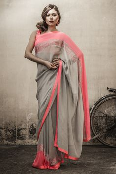 Chhaya Mehrotra Grey & Neon Pink Rhinestone Motif #Saree. Available Only At Pernia's Pop Up Shop.