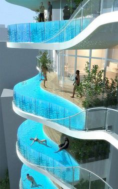 Glass Balcony Pools for Indian Luxury Condo Building - This the Bandra Ohm, a skyscraper designed by James Law Cybertecture to be built in India. Each residential unit features a glass-walled pool for a balcony. Glass Balcony, Glass Pool, Glass Bottom Pool, Plexi Glass, Diving Board, Apartment Complexes, Luxury Condo, Luxury Pools, Modern Homes
