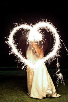Light up the night! #wedding #inspiration #details #heart #sparklers