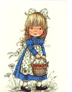 Vintage Dutch 1970s postcard of a little Girl with a basket full of Cherries  - Sarah Kay style. $4.25, via Etsy.