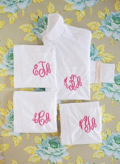 monogrammed getting ready shirts!
